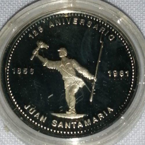 Moneda conmemorativa, Plata, Juan Santamaría, 1856 – 1981
