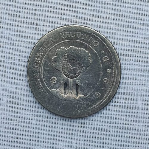 Moneda de la República centroamericana (Habilitada por el Gobierno de CR) Plata, 2 reales, 1849