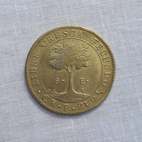Replica de la Moneda de la República centroamericana, bronce, (original era en oro de 21 Qs), ocho Escudos, 1837
