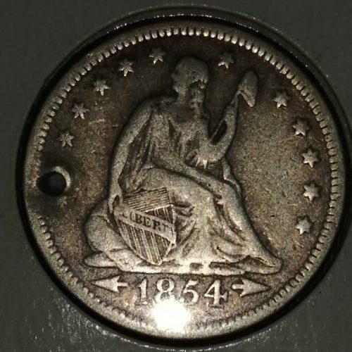 Moneda de Plata, 25 Centavos, 1854
