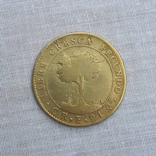 Replica de la Moneda de la República centroamericana, bronce, (original era en oro de 21 Qs), cuatro Escudos, 1837