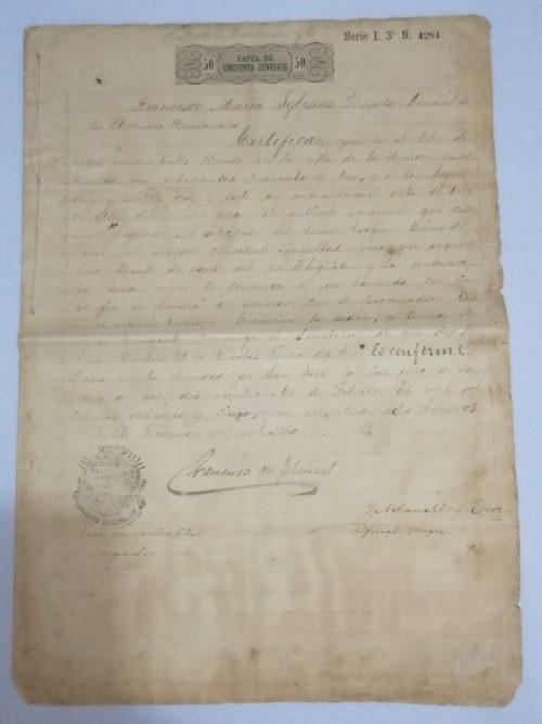 Certificación de Archivos Nacionales, 24 de febrero de 1885, sellado y firmado por Francisco M. Iglesias