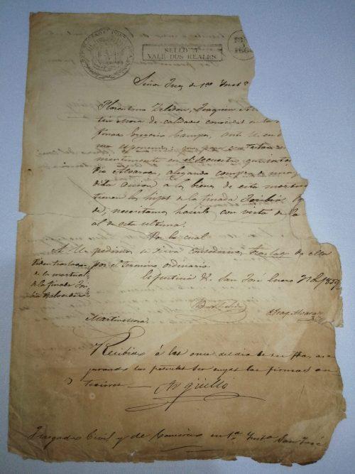 Documento del juzgado civil de San José, 31 de enero de 1859, firmado por Don Manuel Arguello
