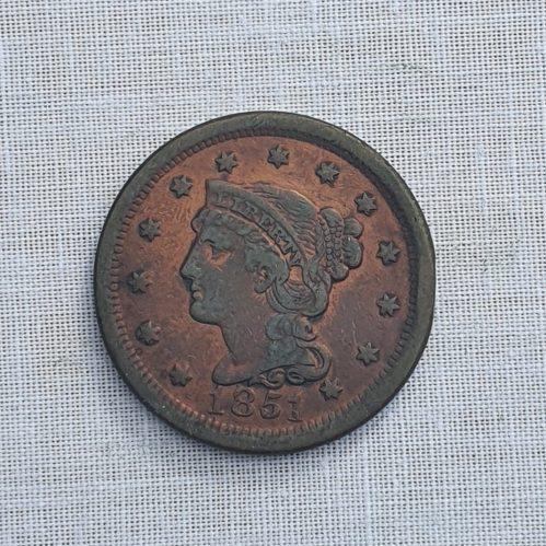 Moneda de los Estados Unidos de América, cobre, un centavo de Dólar, 1851